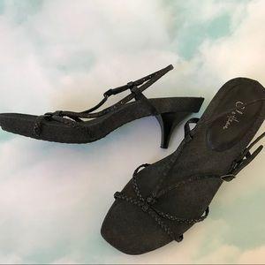 Cole Haan Black Woven Leather + Denim Sandals